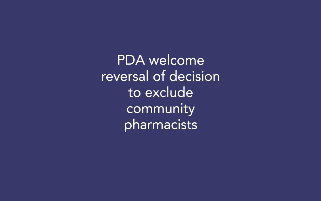 PDA welcome reversal of decision to exclude community pharmacists