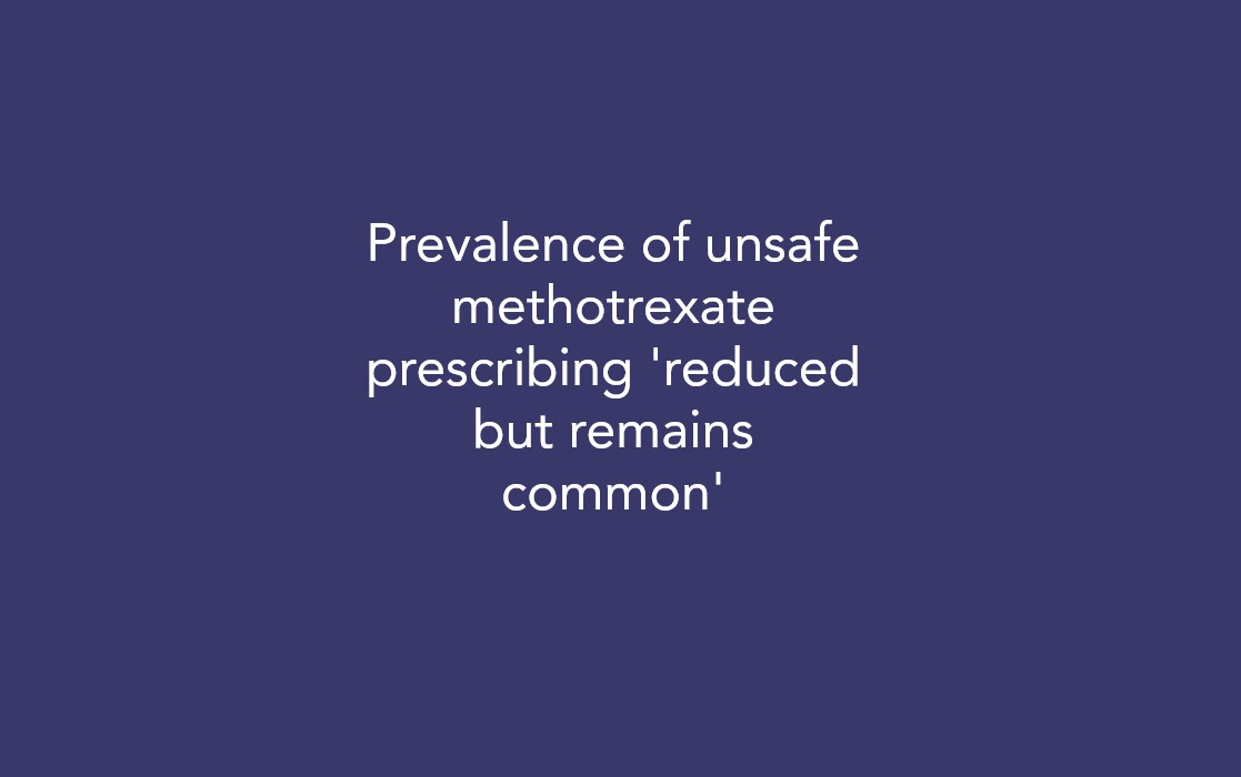Prevalence of unsafe methotrexate prescribing 'reduced but remains common'
