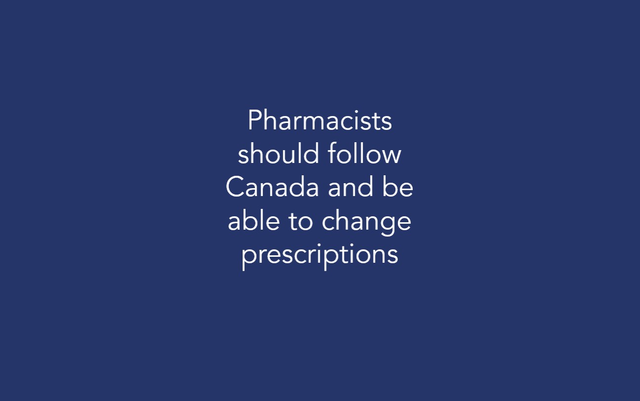 Pharmacists should follow Canada and be able to change prescriptions